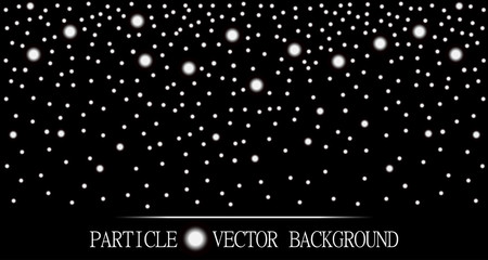 Abstract falling snow particles black background. Style background for presentation, cards, scientific and jewelry design. Vector illustration