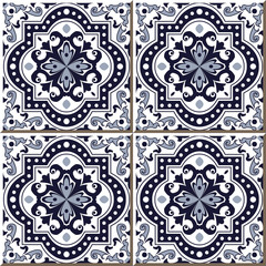 Vintage seamless wall tiles of blue round curve square dot line, Moroccan, Portuguese.