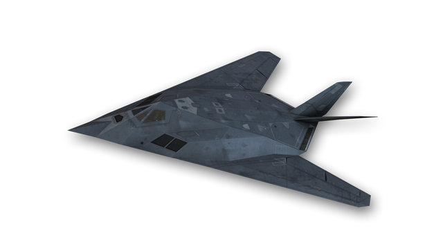 Stealth aircraft in flight, plane isolated on white background