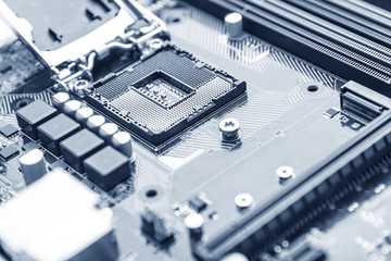 Computer motherboard close up.
