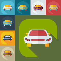 Flat modern design with shadow icons car