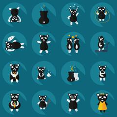 Flat concept, set modern design with shadow panda