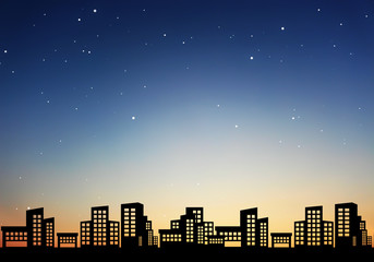 city of night with sky background