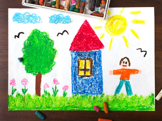 colorful drawings: country house and happy men