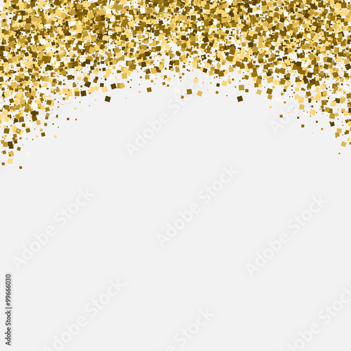 """Gold glitter shimmery heading. Invitation card or flyer with sparkling top on white background ..."