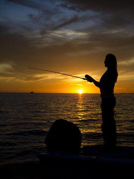 Woman Fishing along Gulf Coast