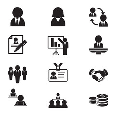 Silhouette human resource & staff  management icons set illustra