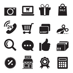 Silhouette Shopping online icons set