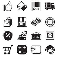 Shopping online silhouette icons