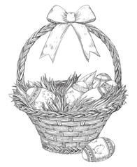 Easter basket. Basket with  Easter eggs and  grass  at doddle style