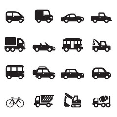 Silhouette car icons set