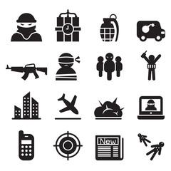 terrorism , Assassin, killer icons set