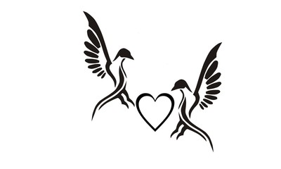 couple pigeons tatto design