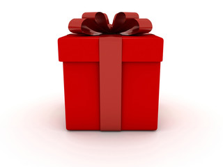 Red Gift box with red bow on white background