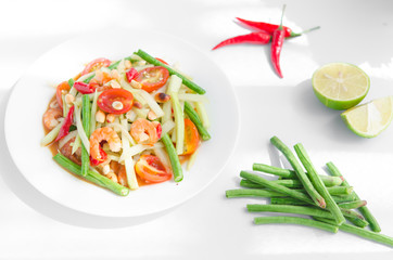 Famous papaya salad in Asia. Especially in Thailand, it's called