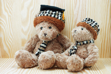 two brown bear doll wood background