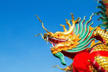 Dragon head on blue sky background
