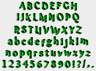 Green isometric font on gray background. Alphabet, numbers and punctuation marks. Vector illustration