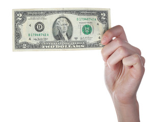 Hands holding two dollar banknote, isolated on white