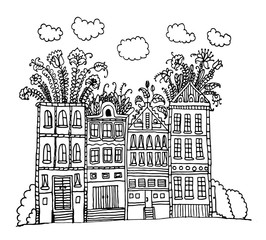 beautiful street with houses with garden and flowers on the roof contour doodle sketch vector illustration