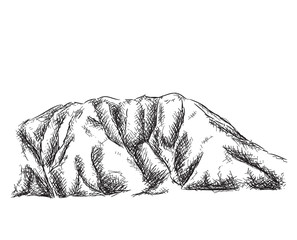 Hand drawn mountains vector illustration.