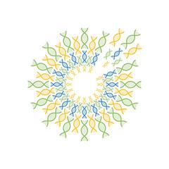 circle of DNA spiral vector design template