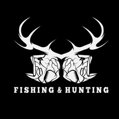 hunting and fishing vintage emblem with skulls of animals