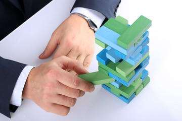 Planning, risk and strategy in business, businessman  getting