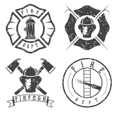 grunge set of fire department emblems and badges