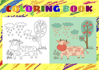 Coloring Book for Kids. Sketchy little pink cow in the garden on