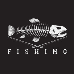vintage fishing emblem with skeleton of trout