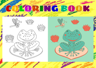 Coloring Book for Kids. Sketchy little frog sits on a leaf among