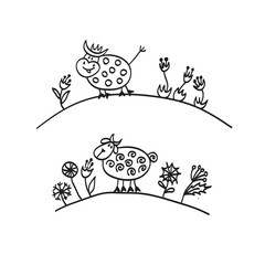 funny Pets cow and sheep hand draw sketch in cartoon style