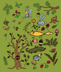 Set of a forest plants and animals on a green background.