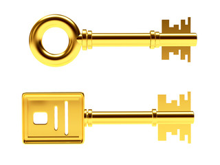 Two golden keys of different shapes isolated on white background