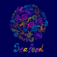 Vector set of a seafood in circle with the inscription.