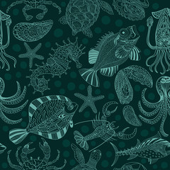 Seamless texture of a seafood on a dark green background.