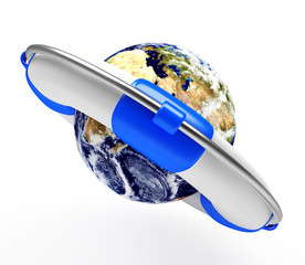 Earth in lifebuoy. Elements of this image furnished by NASA