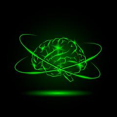 Neon virtual brain with orbital lines