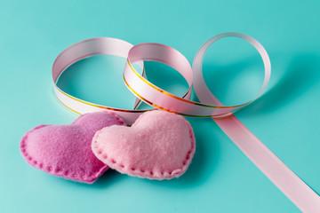 Love hearts on aquamarine background