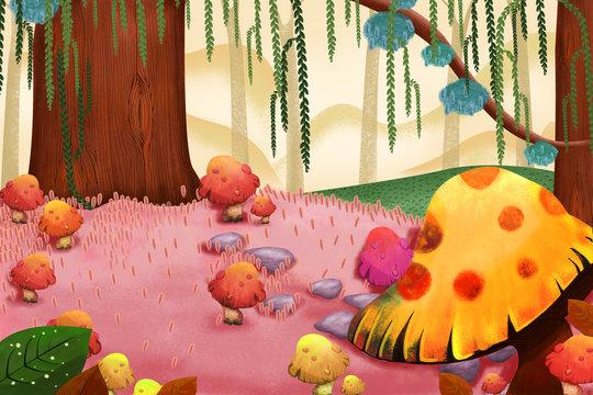 Illustration: Sweet Mushroom Forest. Realistic Fantastic Cartoon Style Artwork Scene, Wallpaper, Game Story Background, Card Design