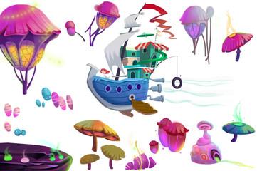 Clip Art Set: Mystery Wonderland Objects: Flying ship, Strange Flowers etc. Realistic Fantastic Cartoon Style Artwork Scene, Wallpaper, Story Background, Card Design