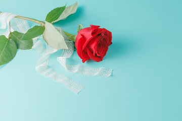Background with Bouquet of Roses and Ribbon