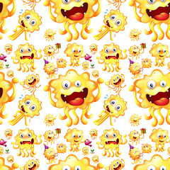Seamless yellow monster in different actions