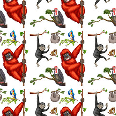 Seamless monkeys and birds