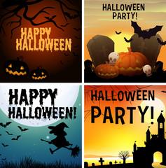 Four happy halloween poster design