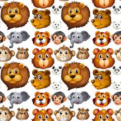 Wild animals head with happy face