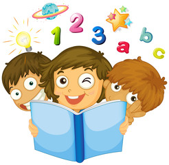 Children reading math book