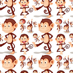 Seamless cute monkey in different posts