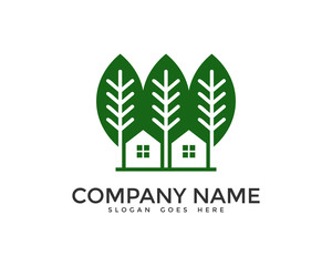 Eco Green House Logo Design Template